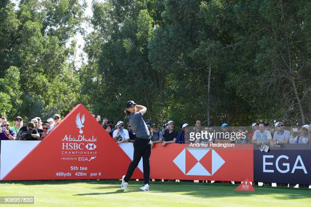 Tommy Fleetwood of England plays his shot from the fifth tee during round two of the Abu Dhabi HSBC Golf Championship at Abu Dhabi Golf Club on...