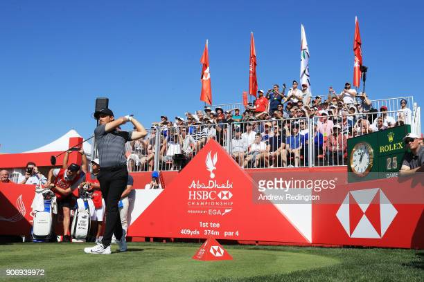 Tommy Fleetwood of England plays his shot from the first tee during round two of the Abu Dhabi HSBC Golf Championship at Abu Dhabi Golf Club on...