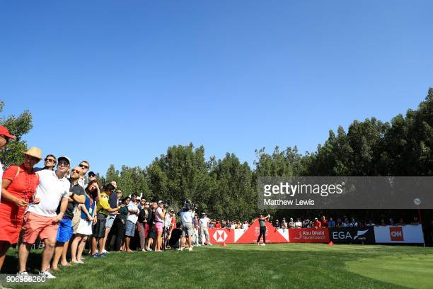 Tommy Fleetwood of England plays his shot from the fourth tee during round two of the Abu Dhabi HSBC Golf Championship at Abu Dhabi Golf Club on...