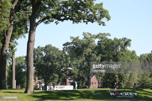 Tommy Fleetwood of England plays his shot from the ninth tee during the first round of the Rocket Mortgage Classic on July 02, 2020 at the Detroit...