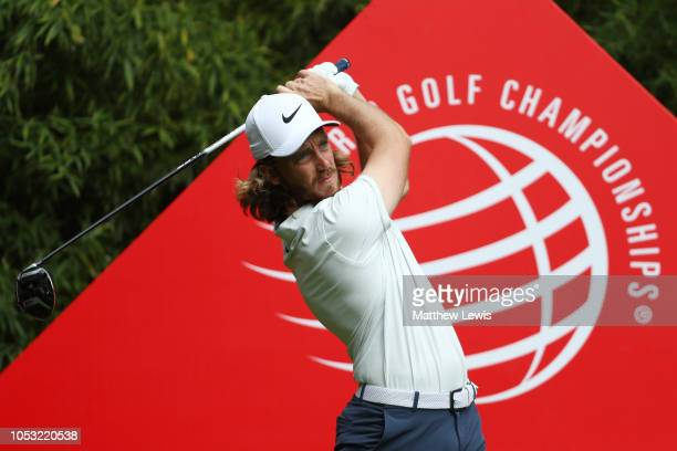 Tommy Fleetwood of England plays his shot from the second tee during the first round of the WGC HSBC Champions at Sheshan International Golf Club on...