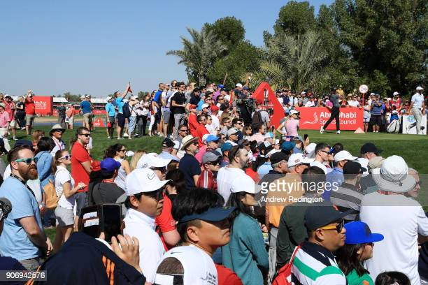 Tommy Fleetwood of England plays his shot from the second tee during round two of the Abu Dhabi HSBC Golf Championship at Abu Dhabi Golf Club on...