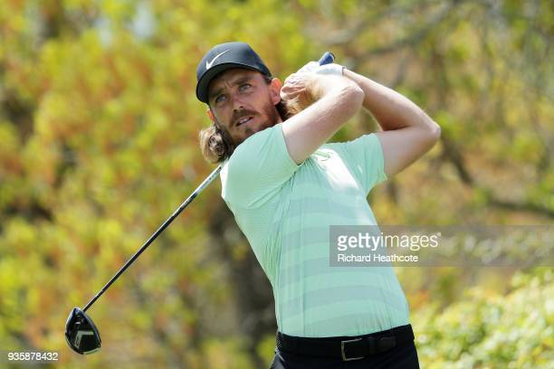 Tommy Fleetwood of England plays his shot from the sixth tee during the first round of the World Golf Championships-Dell Match Play at Austin Country...