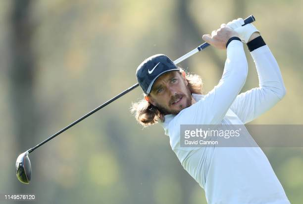 Tommy Fleetwood of England plays his tee shot on the 12th hole during the first round of the 2019 PGA Championship on the Black Course at Bethpage...