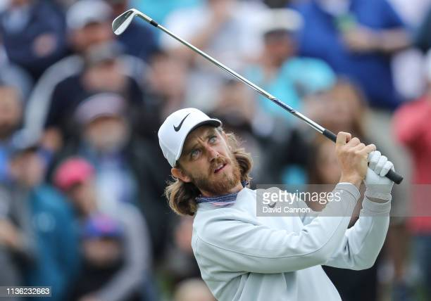 Tommy Fleetwood of England plays his tee shot on the par 3, third hole during the third round of the 2019 Players Championship held on the Stadium...