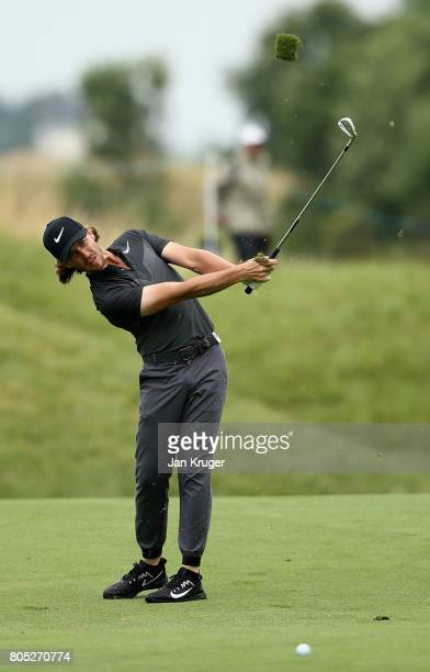 Tommy Fleetwood of England plays his third shot on the 14th during day three of the HNA Open de France at Le Golf National on July 1 2017 in Paris...