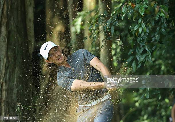 Tommy Fleetwood of England plays his third shot on the third hole during the final round of the UBS Hong Kong Open at The Hong Kong Golf Club on...