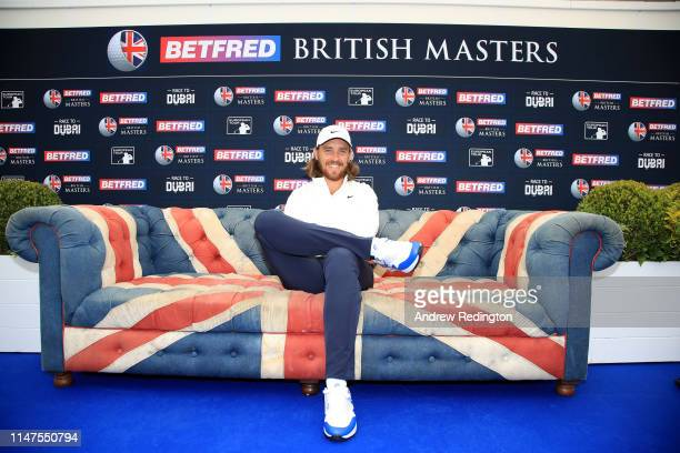 Tommy Fleetwood of England poses for a photograph after a press conference prior to the start of the Betfred British Masters at Hillside Golf Cub on...