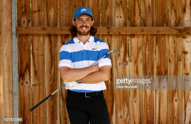 Tommy Fleetwood of England practices at Sandiway Golf Club on May 26, 2020 in Northwich, England. The British government has started easing the...