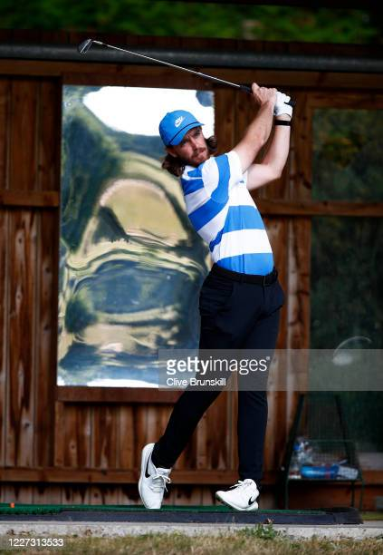 Tommy Fleetwood of England practices at Sandiway Golf Club on May 26 2020 in Northwich England The British government has started easing the lockdown...