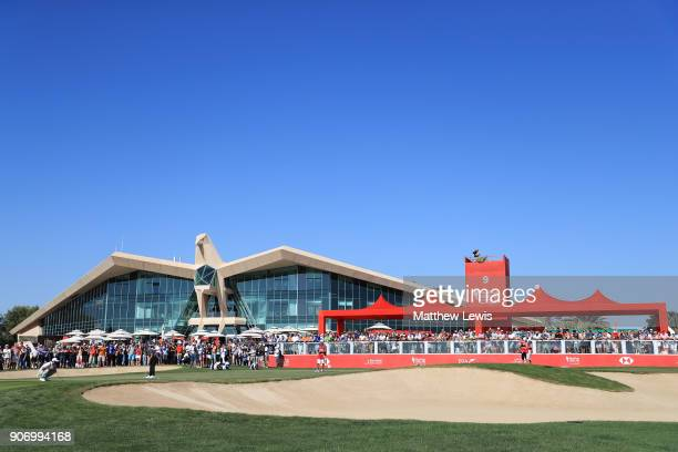 Tommy Fleetwood of England putts on the ninth green during round two of the Abu Dhabi HSBC Golf Championship at Abu Dhabi Golf Club on January 19...
