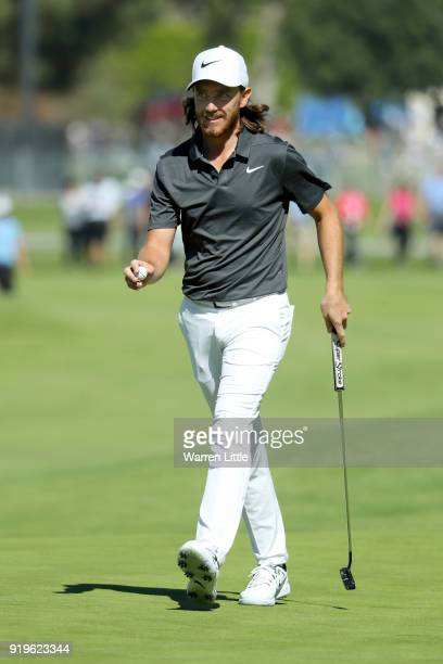 Tommy Fleetwood of England reacts after making birdie on the 10th green during the third round of the Genesis Open at Riviera Country Club on...