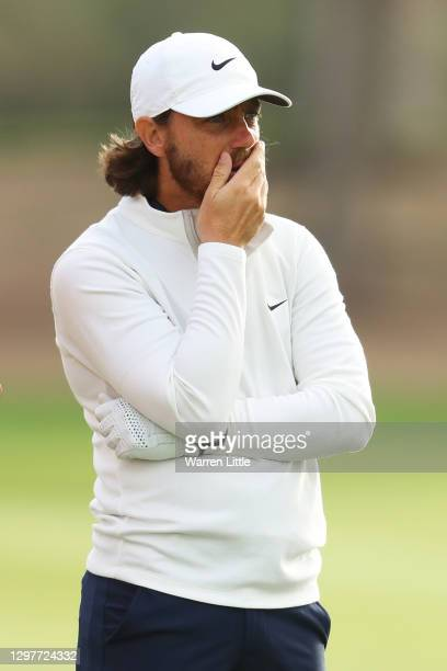 Tommy Fleetwood of England reacts during Day 2 of the Abu Dhabi HSBC Championship at Abu Dhabi Golf Club on January 22, 2021 in Abu Dhabi, United...
