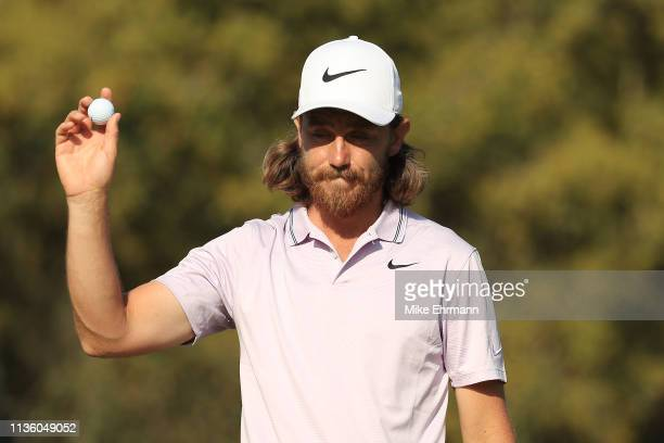 Tommy Fleetwood of England reacts on the 14th green during the second round of The PLAYERS Championship on The Stadium Course at TPC Sawgrass on...