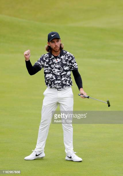 Tommy Fleetwood of England reacts on the 18th green during the second round of the 148th Open Championship held on the Dunluce Links at Royal...