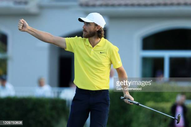 Tommy Fleetwood of England reacts to his birdie on the 17th green during the final round of the Honda Classic at PGA National Resort and Spa Champion...
