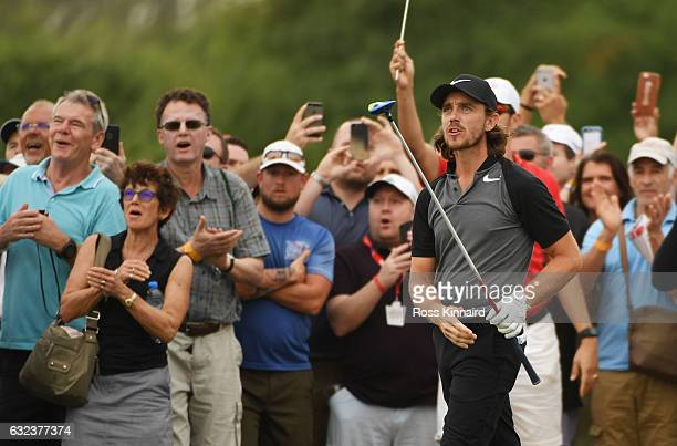 Tommy Fleetwood of England second shot on the 18th hole during the final round of the Abu Dhabi HSBC Championship at Abu Dhabi Golf Club on January...