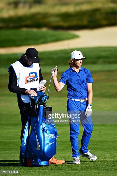 Tommy Fleetwood of England selects a club on the 12th hole during day two of the DD REAL Czech Masters at Albatross Golf Resort on August 19 2016 in...