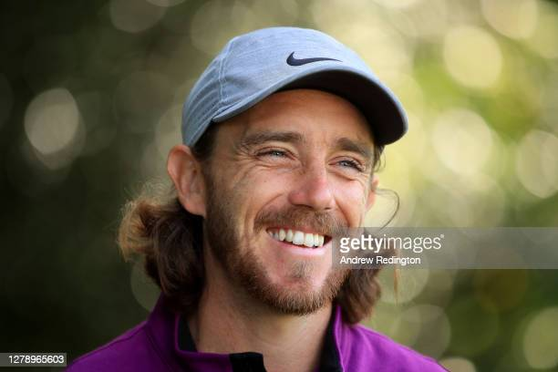 Tommy Fleetwood of England smiles during a practice round ahead of the BMW PGA Championship at Wentworth Golf Club on October 07, 2020 in Virginia...