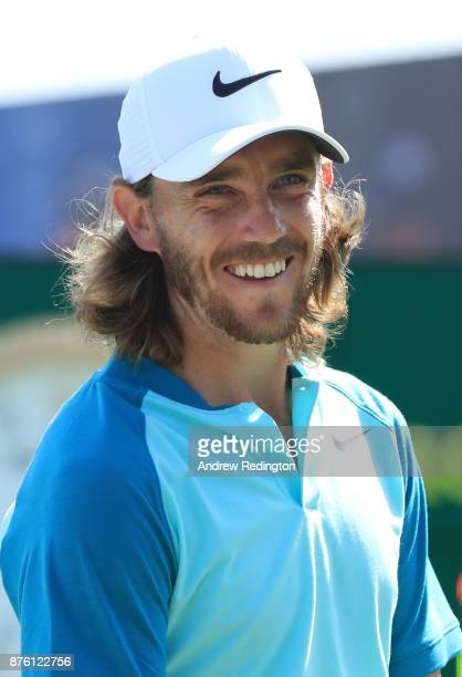 Tommy Fleetwood of England smiles on the 1st tee during the final round of the DP World Tour Championship at Jumeirah Golf Estates on November 19...