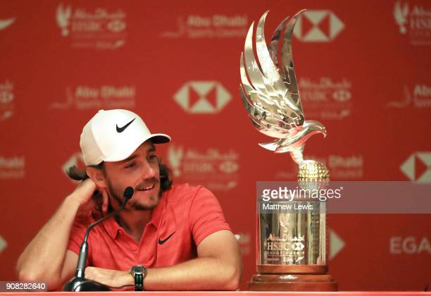 Tommy Fleetwood of England speaks to the media after we won during the final round of the Abu Dhabi HSBC Golf Championship at Abu Dhabi Golf Club on...