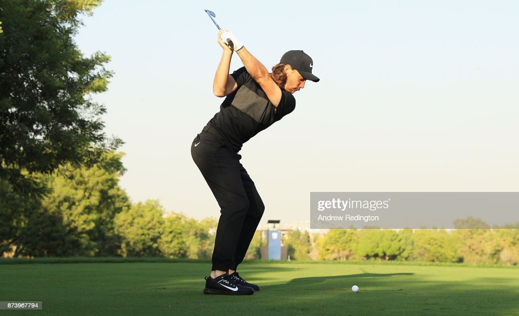 Tommy Fleetwood of England swing sequence (frame 6 of 12) during the Pro-Am prior to the DP World Tour Championship at Jumeirah Golf Estates on November 14, 2017 in Dubai, United Arab Emirates.