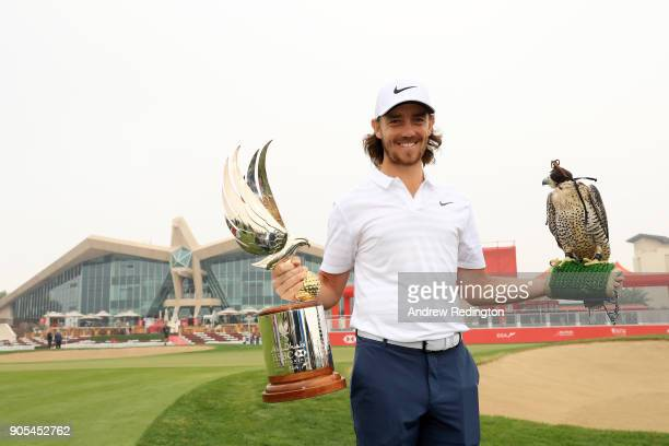 Tommy Fleetwood of England takes part in a photocall for the Abu Dhabi HSBC Golf Championship at Abu Dhabi Golf Club on January 16 2018 in Abu Dhabi...