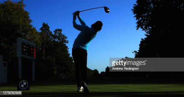 Tommy Fleetwood of England tees off on the 15th hole during Day 2 of the BMW PGA Championship at Wentworth Golf Club on October 09, 2020 in Virginia...