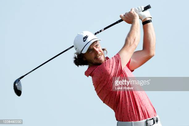 Tommy Fleetwood of England tees off on the 18th hole during Day Four of the Portugal Masters at Dom Pedro Victoria Golf Course on September 13, 2020...