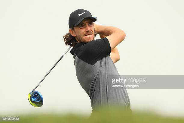 Tommy Fleetwood of England tees off on the 3rd hole during the final round of the Abu Dhabi HSBC Championship at Abu Dhabi Golf Club on January 22...
