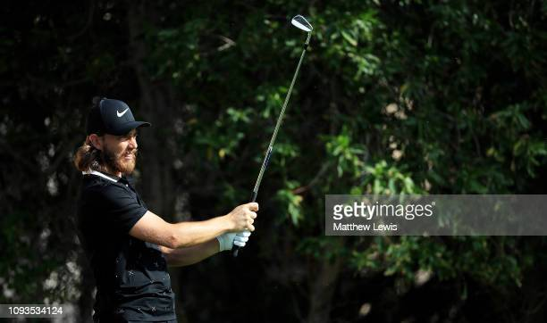 Tommy Fleetwood of England tees off on the 4th hole during a practice round ahead of the Abu Dhabi HSBC Golf Championship at the Abu Dhabi Golf Club...
