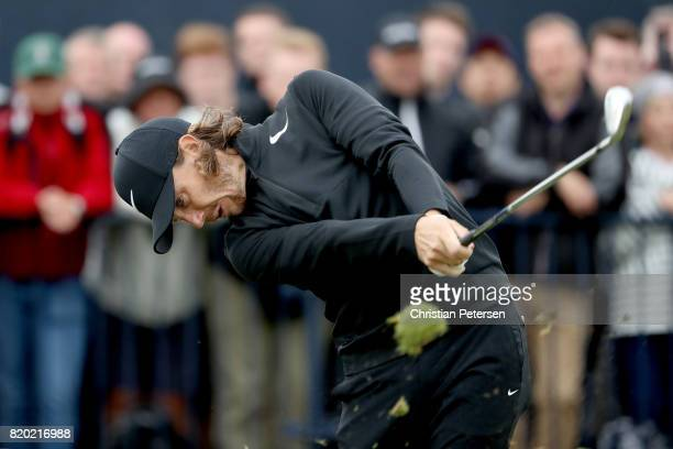 Tommy Fleetwood of England tees off on the 4th hole during the second round of the 146th Open Championship at Royal Birkdale on July 21 2017 in...