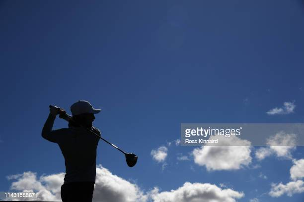 Tommy Fleetwood of England tees off on the 5th hole during day four of the Betfred British Masters at Hillside Golf Club on May 12 2019 in Southport...