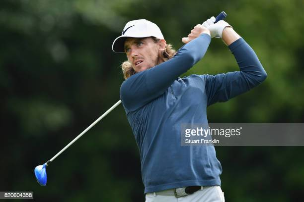 Tommy Fleetwood of England tees off on the 5th hole during the third round of the 146th Open Championship at Royal Birkdale on July 22 2017 in...