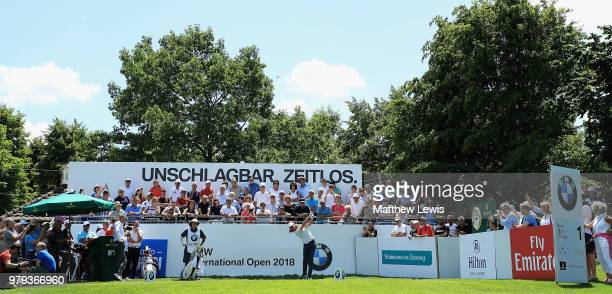 Tommy Fleetwood of England tees off on the first hole during a practice round ahead of the BMW International Open at Golf Club Gut Larchenhof on June...