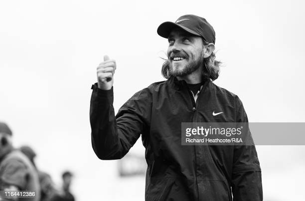 Tommy Fleetwood of England walks to the first tee during the final round of the 148th Open Championship held on the Dunluce Links at Royal Portrush...