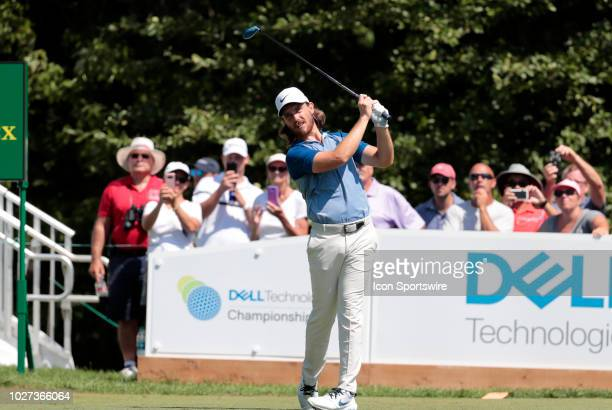 Tommy Fleetwood of England watches his drive on 1 during the Final Round of the Dell Technologies Championship on September 3 at TPC Boston in...
