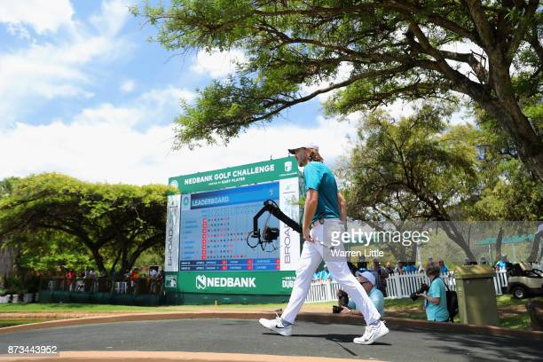 Tommy Fleetwood of Englanfd walks onto the ninth green during the final round of the Nedbank Golf Challenge at Gary Player CC on November 12 2017 in...