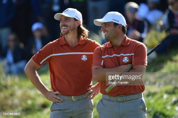 Tommy Fleetwood of Europe and Francesco Molinari of Europe celebrate during the afternoon foursome matches of the 2018 Ryder Cup at Le Golf National...