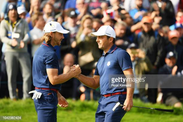 Tommy Fleetwood of Europe and Francesco Molinari of Europe during the morning fourball matches of the 2018 Ryder Cup at Le Golf National on September...