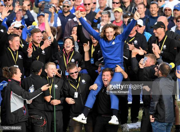 Tommy Fleetwood of Europe celebrates after winning The Ryder Cup during singles matches of the 2018 Ryder Cup at Le Golf National on September 30...