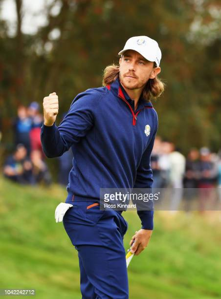 Tommy Fleetwood of Europe celebrates during the morning fourball matches of the 2018 Ryder Cup at Le Golf National on September 28 2018 in Paris...