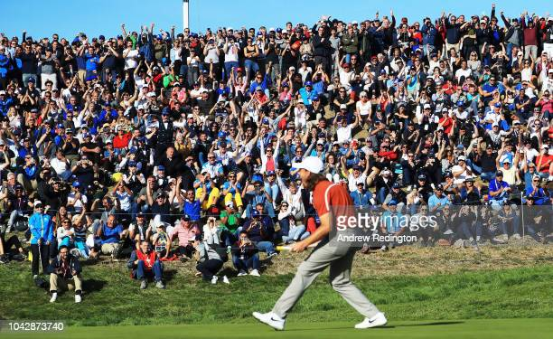 Tommy Fleetwood of Europe celebrates on the ninth during the afternoon foursome matches of the 2018 Ryder Cup at Le Golf National on September 29...