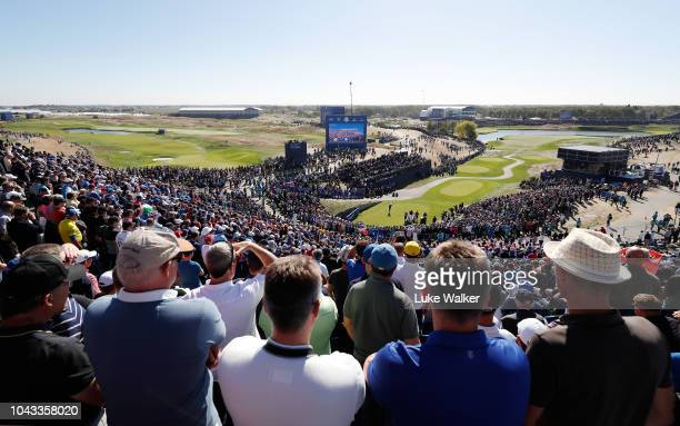 Tommy Fleetwood of Europe plays his shot from the first tee during singles matches of the 2018 Ryder Cup at Le Golf National on September 30 2018 in...