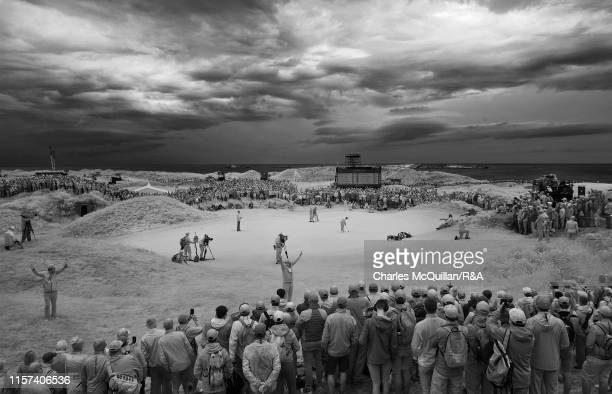 Tommy Fleetwood putts on the 4th green during the final round of the 148th Open Championship held on the Dunluce Links at Royal Portrush Golf Club on...