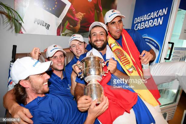 Tommy Fleetwood Thomas Pieters Matthew Fitzpatrick Alexander Levy and Rafa CabreraBello of Europe celebrate with the trophy during the singles...