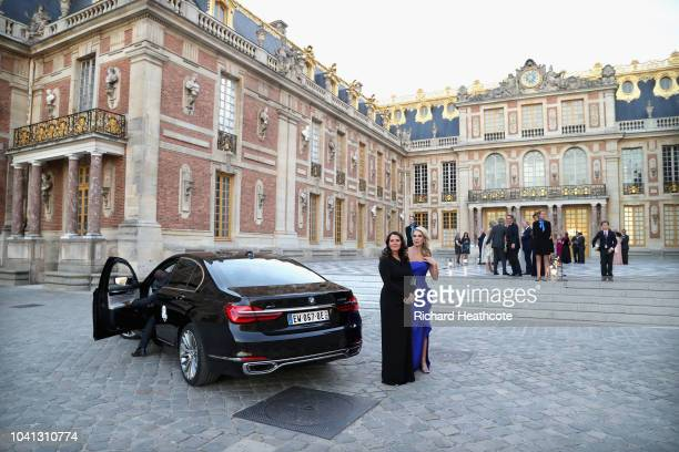 Tommy Fleetwood's wife Clare Fleetwood and Jon Rahm's partner Kelley Cahill arrive to the 2018 Ryder Cup Gala at the Palace of Versailles on...