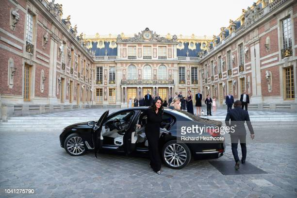 Tommy Fleetwood's wife Clare Fleetwood arrives at the Palace of Versailles for the Ryder Cup Gala dinner ahead of the 2018 Ryder Cup on September 26...