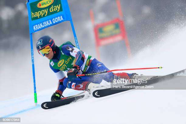 Tommy Ford of USA competes during the Audi FIS Alpine Ski World Cup Men's Giant Slalom on March 3 2018 in Kranjska Gora Slovenia