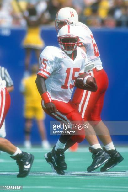 Tommy Frazier of the Nebraska Cornhuskers looks to throw a pass during a college football game against the West Virginia Mountaineers on August 31,...